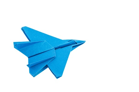 Origami F-15 Eagle Jet Fighter airplane isolated on white background photo