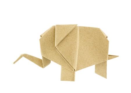 Origami elephant recycle paper isolated on white background photo