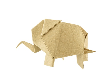 Origami elephant recycle paper isolated on white background