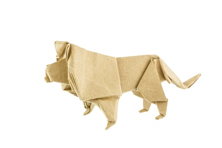 Origami lion recycle paper isolated on white background photo