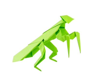 Origami mantis isolated on white background photo