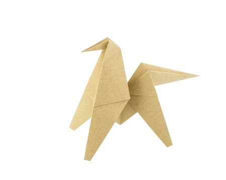 Origami horse recycle paper isolated on white background photo