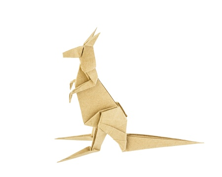 Origami Kangaroo Recycle Paper Isolated On White Background Stock