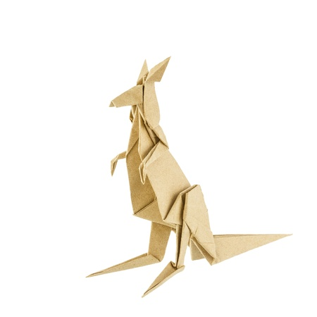 Origami kangaroo recycle paper isolated on white background photo