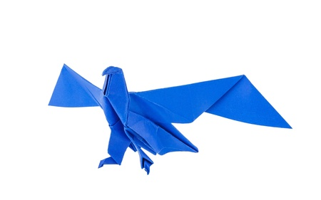 Origami eagle isolated on white background photo
