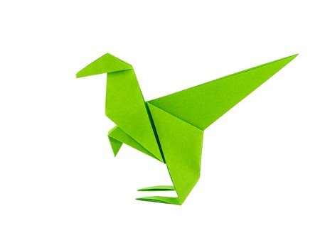 raptor: Origami dinosaur - Raptor - isolated on white background