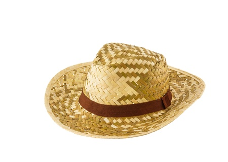 straw the hat: Woven hat isolated on white background