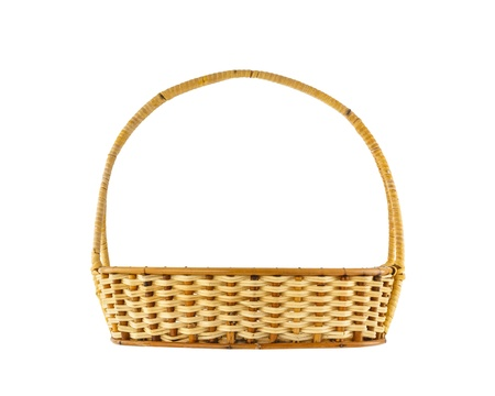 basket weaving: Empty wicker basket isolated on white background