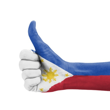philippines flag: Hand with thumb up, Philippines flag painted as symbol of excellence, achievement, good - isolated on white background