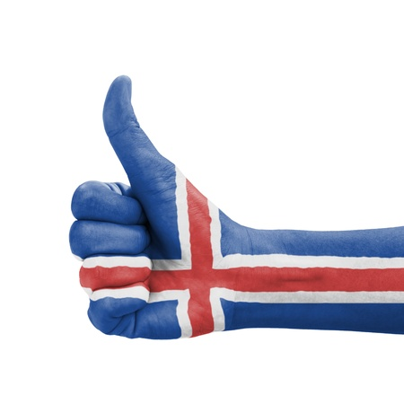 Hand with thumb up, Iceland flag painted as symbol of excellence, achievement, good - isolated on white background photo