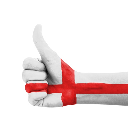 Hand with thumb up, England flag painted as symbol of excellence, achievement, good - isolated on white background photo