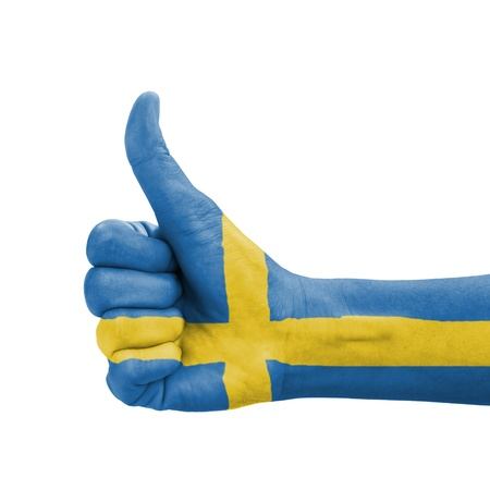 sweden flag: Hand with thumb up, Sweden flag painted as symbol of excellence, achievement, good - isolated on white background Stock Photo