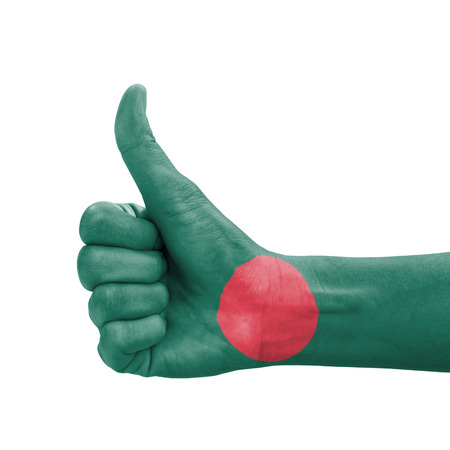Hand with thumb up, Bangladesh flag painted as symbol of excellence, achievement, good - isolated on white background photo