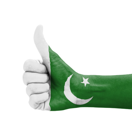 Hand with thumb up, Pakistan flag painted as symbol of excellence, achievement, good - isolated on white background photo