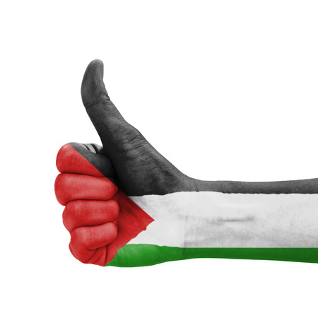 Hand with thumb up, Palestine flag painted as symbol of excellence, achievement, good - isolated on white background photo