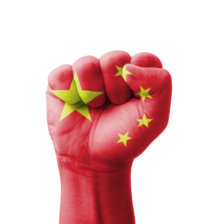 Fist of China flag painted, multi purpose concept - isolated on white background
