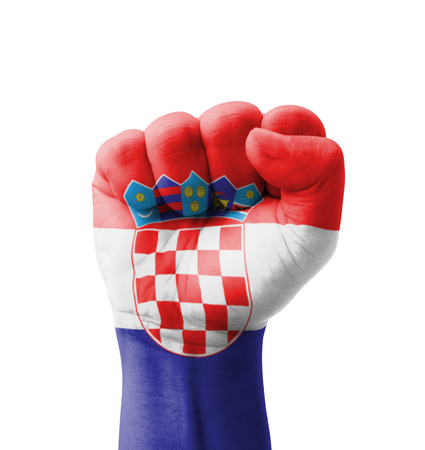 Fist of Croatia flag painted, multi purpose concept - isolated on white background photo