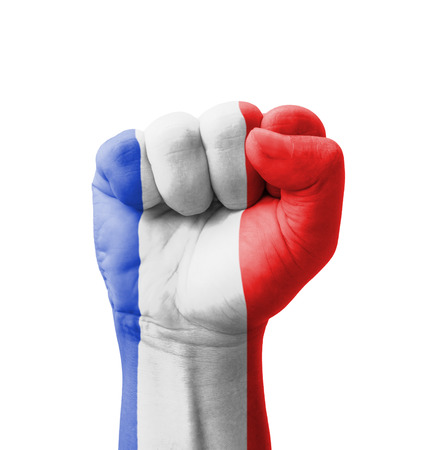 Fist of France flag painted, multi purpose concept - isolated on white background photo