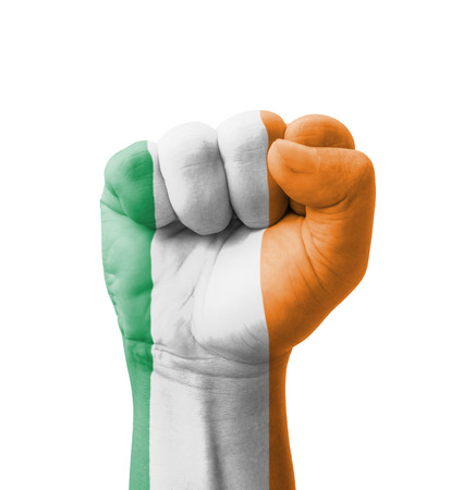 irish symbols: Fist of Ireland flag painted, multi purpose concept - isolated on white background