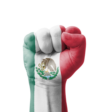 Fist of Mexico flag painted, multi purpose concept - isolated on white background Фото со стока