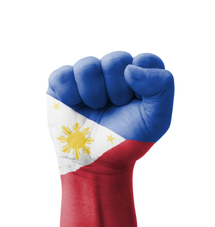 Fist of Philippines flag painted, multi purpose concept - isolated on white background
