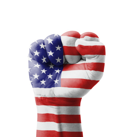 Fist of USA (United States of America) flag painted, multi purpose concept - isolated on white background photo