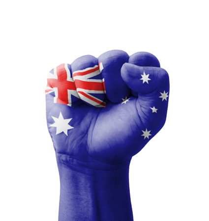 Fist of Australia flag painted, multi purpose concept - isolated on white background photo