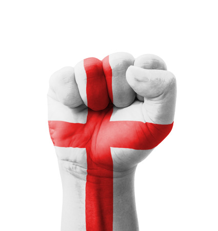 Fist of England flag painted, multi purpose concept - isolated on white background photo