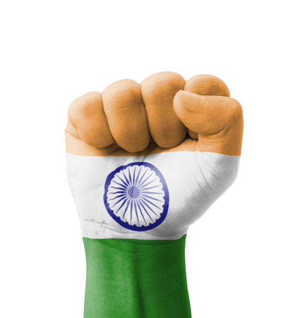 Fist of India flag painted, multi purpose concept - isolated on white background photo