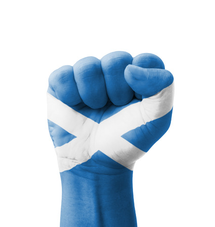 Fist of Scotland flag painted, multi purpose concept - isolated on white background Фото со стока
