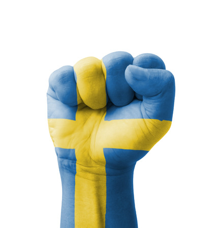 Fist of Sweden flag painted, multi purpose concept - isolated on white background Stock Photo