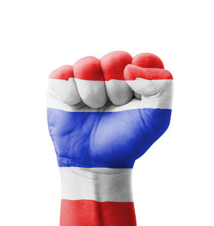 Fist of Thailand flag painted, multi purpose concept - isolated on white background photo