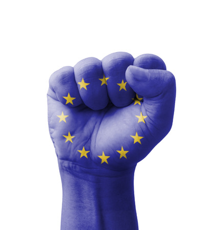 Fist of EU (European Union) flag painted, multi purpose concept - isolated on white background photo