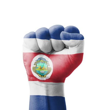 Fist of Costa Rica flag painted, multi purpose concept - isolated on white background photo