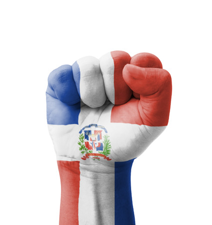 clenching fists: Fist of Dominican Republic flag painted, multi purpose concept - isolated on white background