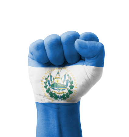 el salvador flag: Fist of El Salvador flag painted, multi purpose concept - isolated on white background