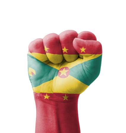 clenching fists: Fist of Grenada flag painted, multi purpose concept - isolated on white background