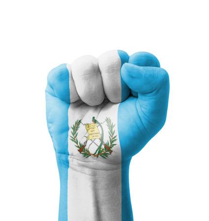 bandera de guatemala: Pu�o de la bandera de Guatemala pintada, el concepto de usos m�ltiples - aislado en fondo blanco