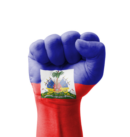 clenching fists: Fist of Haiti flag painted, multi purpose concept - isolated on white background Stock Photo