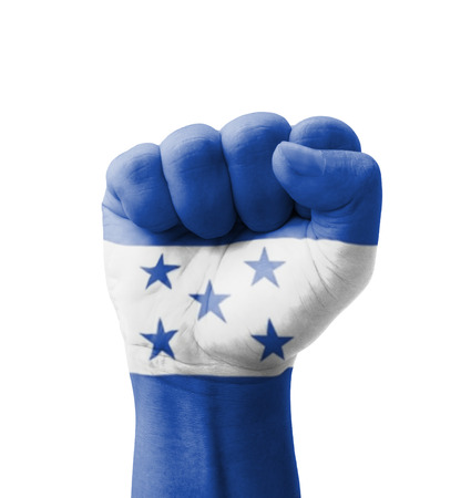 Fist of Honduras flag painted, multi purpose concept - isolated on white background photo