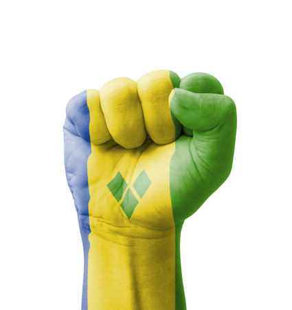 grenadines: Fist of Saint Vincent and the Grenadines flag painted, multi purpose concept - isolated on white background