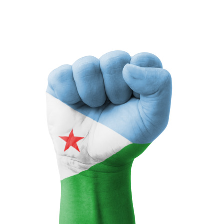 Fist of Djibouti flag painted, multi purpose concept - isolated on white background