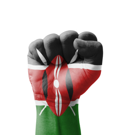 rebel flag: Fist of Kenya flag painted, multi purpose concept - isolated on white background