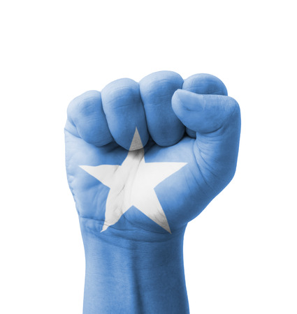 Fist of Somalia flag painted, multi purpose concept - isolated on white background