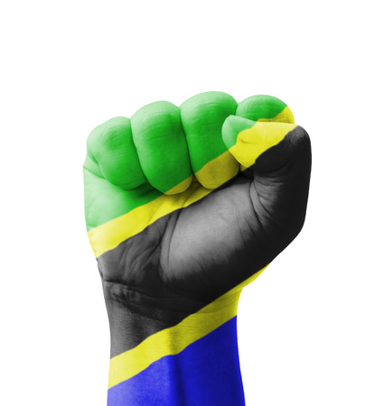 Fist of Tanzania flag painted, multi purpose concept - isolated on white background