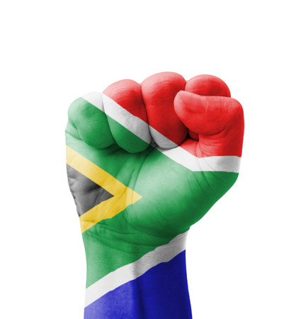 Fist of South Africa flag painted, multi purpose concept - isolated on white background Stock Photo