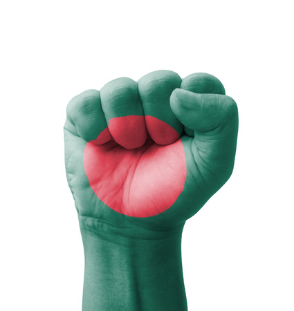 Fist of Bangladesh flag painted, multi purpose concept - isolated on white background photo
