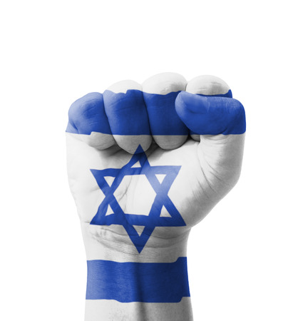 Fist of Israel flag painted, multi purpose concept - isolated on white background photo