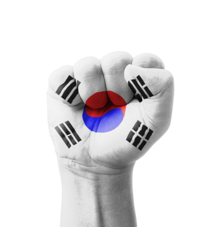 Fist of South Korea flag painted, multi purpose concept - isolated on white background photo