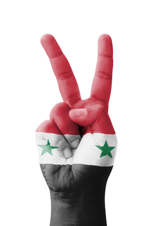 syria peace: Hand making the V sign, Syria flag painted as symbol of victory, win, success - isolated on white background Stock Photo